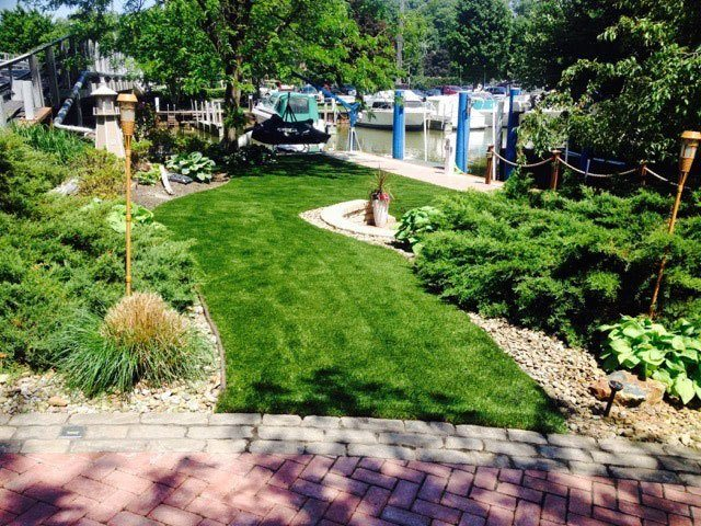 Residential Landscape with Artificial Grass After